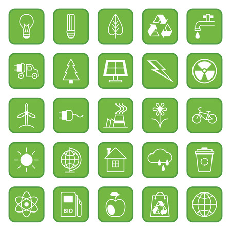 Set twenty five flat colored vector icons Ecology and Environment Vector