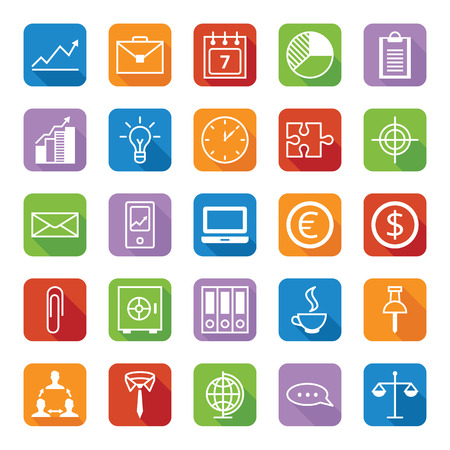 white office: Set twenty five flat colored icons vector a business and office
