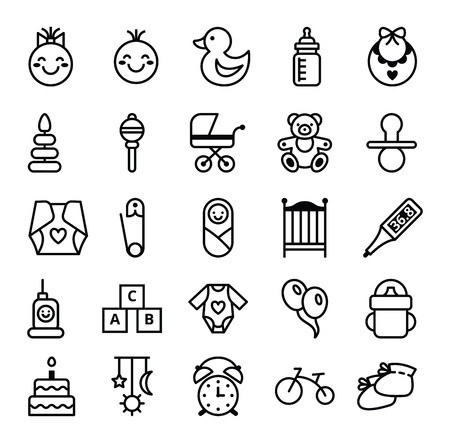 Big set of vector icons black white baby and accessories