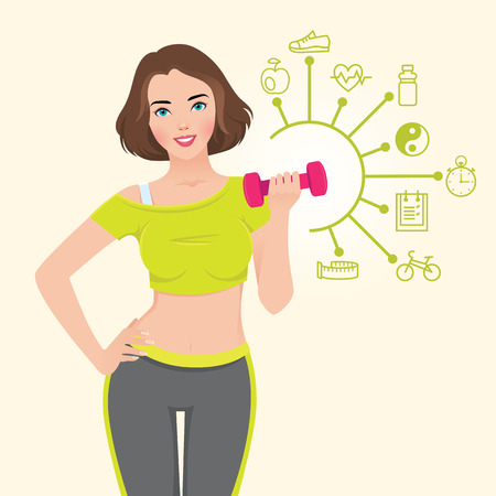 hand with dumbbells: Stock vector illustration with elements of infographics athletic slender girl is engaged in fitness with dumbbells in hand