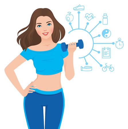 levantando pesas: Ilustración vectorial de la niña sana delgada en ropa deportiva a aptitud y la infografía que muestra los componentes de su éxito Vectores
