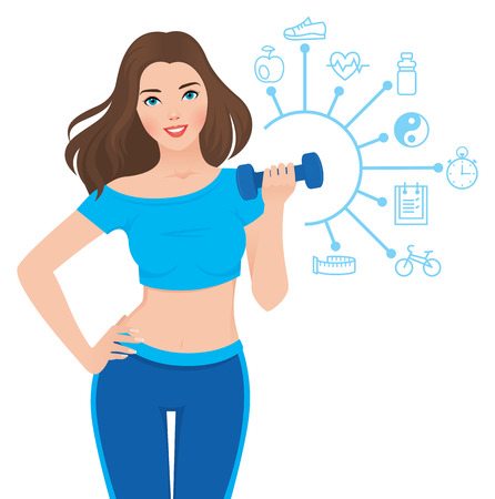 diet cartoon: Stock vector illustration slim healthy girl in sportswear is engaged in fitness and infographics showing the components of its success Illustration