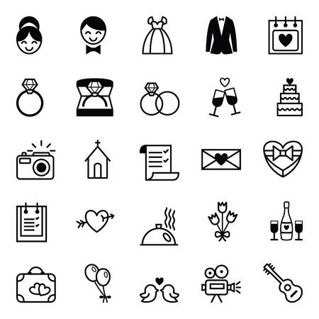 Conjunto de veinticinco vector blanco y negro iconos de la preparación para la boda Foto de archivo - 39378901