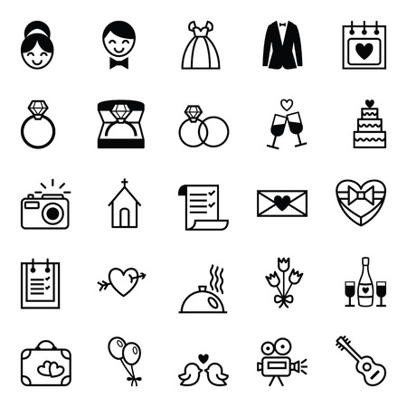 bride bouquet: Set of twenty five black and white vector icons preparation for the wedding