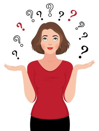 mujer pensativa: Ilustraci�n vectorial de la ni�a frente a una elecci�n aislado en un blanco