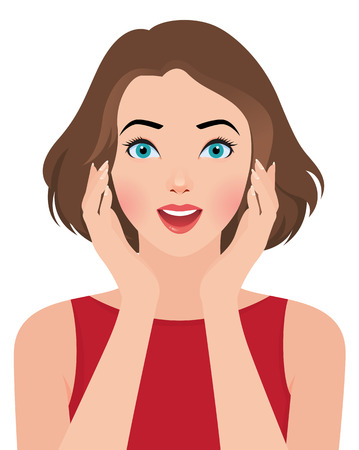 Stock vector illustration portrait of a beautiful surprised girl
