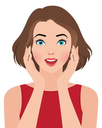 cara sorprendida: Ilustración vectorial Foto retrato de una bella muchacha sorprendida
