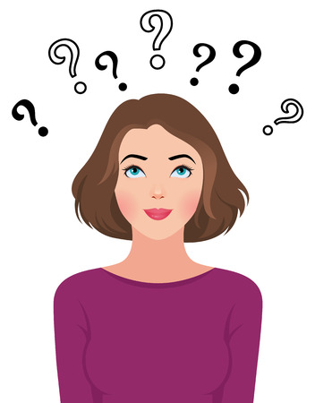 Stock Vector cartoon illustration of a portrait of a beautiful young woman reading asks questions Ilustração