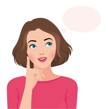 mujer pensando: Ilustración vectorial Foto retrato de una mujer hermosa pensamiento aislado en el fondo blanco