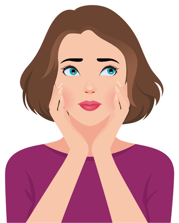 Stock vector illustration portrait of unhappy upset beautiful young woman or girl
