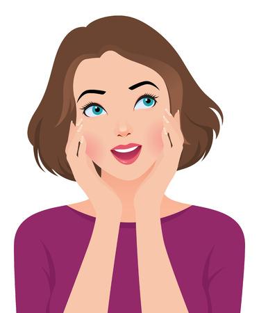 Vector cartoon illustration wondering portrait of pretty girl face