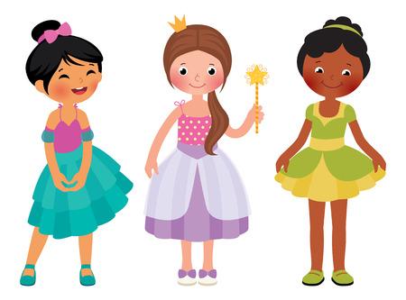Stock Vector cartoon illustration of children little girl in princess costume Vector