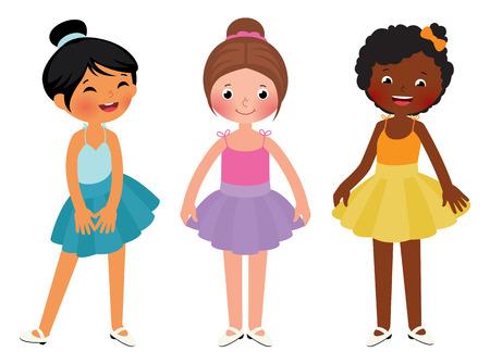 Stock Vector cartoon illustration of little girls different ethnic dancer Vettoriali