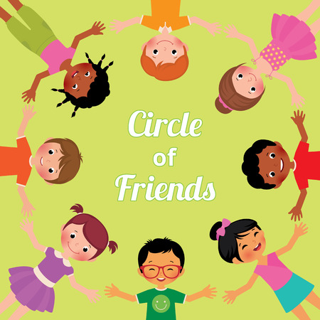 children circle: Stock vector cartoon illustration the children friends from around the world of various ethnic groups in circle