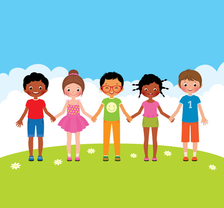 girls holding hands: Stock vector cartoon illustration group of happy children boys and girls holding hands Illustration