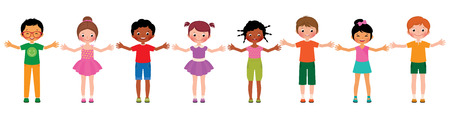 Stock Vector cartoon illustration large group of children of different ethnic isolated on white background Illustration