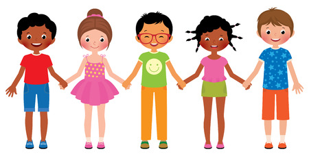 world group: Stock Vector cartoon illustration of children friends holding hands isolated on white background Illustration