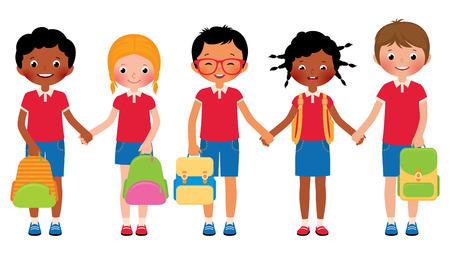 学校の制服での児童生徒のグループの在庫のベクトル漫画イラスト  イラスト・ベクター素材