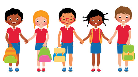 backpack school: Stock Vector cartoon illustration of a group of children students in school uniforms