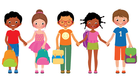 friends together: Stock Vector cartoon illustration of a group of children of school students are holding school bags