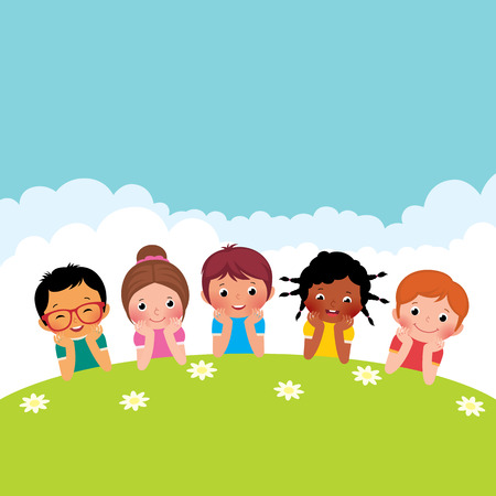 kids playing outside: Stock Vector cartoon illustration of a group of happy children boys and girls lying on the grass