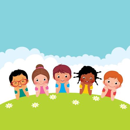 ni�os jugando en el parque: Stock Vector ilustraci�n de dibujos animados de un grupo de ni�os felices los ni�os y las ni�as acostado en la hierba