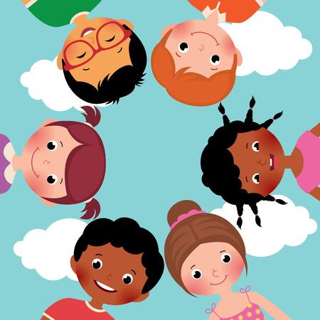 girotondo bambini: Foto Stock fumetto illustrazione di felici bambini ragazzi e ragazze in cerchio