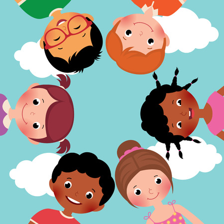 world group: Stock Vector cartoon illustration of happy kids boys and girls in the circle