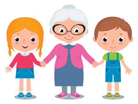 kid vector: Stock Vector ilustraci�n de dibujos animados de una abuela y nietos ni�o y una ni�a aislada sobre fondo blanco