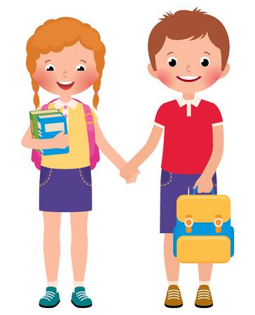 niños en la escuela: Stock Vector ilustración de dibujos animados de la muchacha y del muchacho niños alumnos de la escuela aislado en un fondo blanco