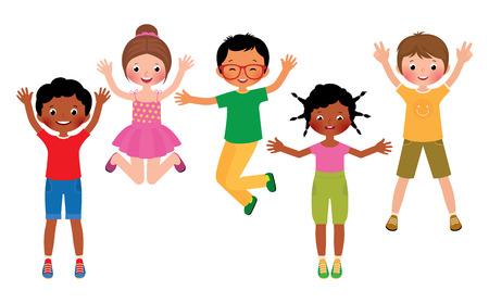 白い背景に分離されたジャンプ幸せな子供たちのグループのベクトル漫画イラストをストックします。