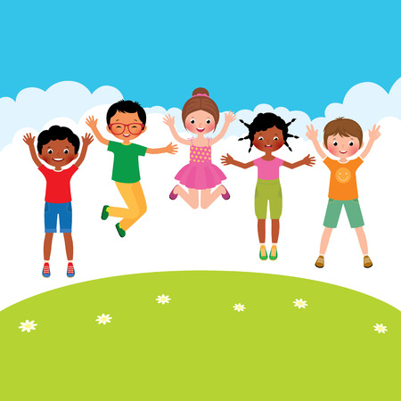 Stock Vector cartoon illustration of a group of happy jumping children of different nationalities Vettoriali