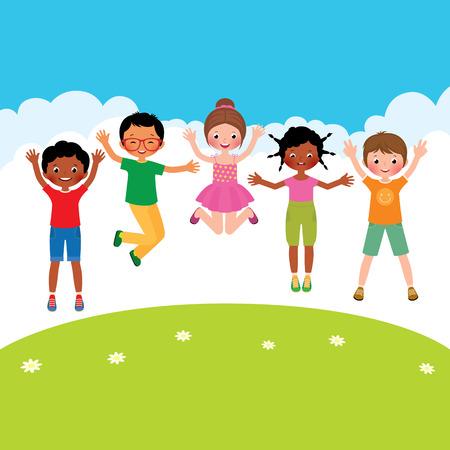 Vector children: Vector phim hoạt hình minh họa của một nhóm trẻ em nhảy hạnh phúc của các dân tộc khác nhau