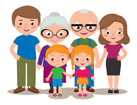 sister: Stock Vector cartoon illustration of a family group portrait parents grandparents and children isolated on white background