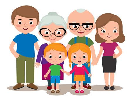 Vektorgrafik Cartoon-Illustration einer Familie Gruppe Porträt Eltern Großeltern und Kinder isoliert auf weißem Hintergrund