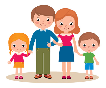 together standing: Stock Vector cartoon illustration of a family portrait of parents and their little children