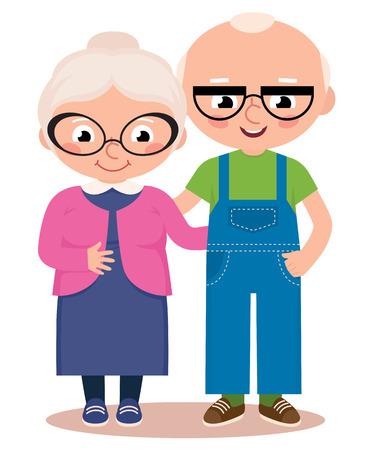 白い背景に分離された老夫婦のベクトル漫画イラスト  イラスト・ベクター素材