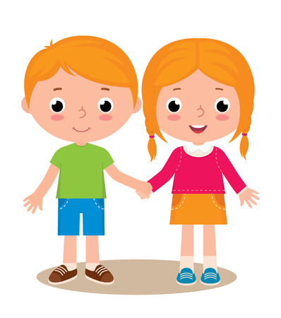 Stock vector illustration of two friends boy and girl isolated on white background 일러스트