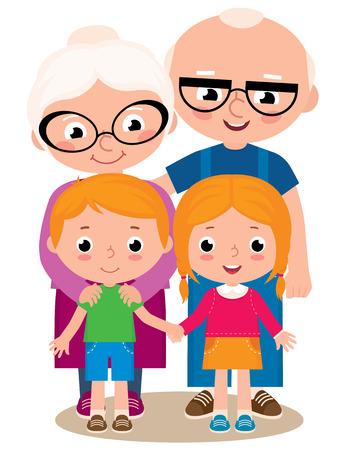 Ilustración de dibujos animados de vector de abuelos con sus nietos niño y niña aislado sobre fondo blanco