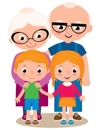 Vector cartoon illustration of grandparents with their grandchildren boy and girl isolated on white background