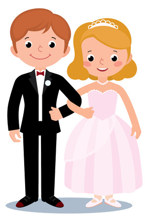 wedding bride: Stock Vector cartoon illustration of a couple just married bride and groom