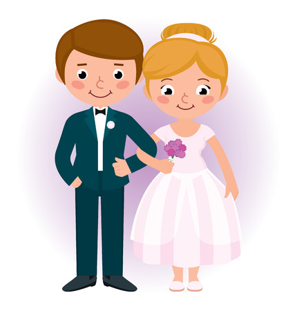 Stock Vector cartoon illustration of a happy couple newlyweds bride and groom