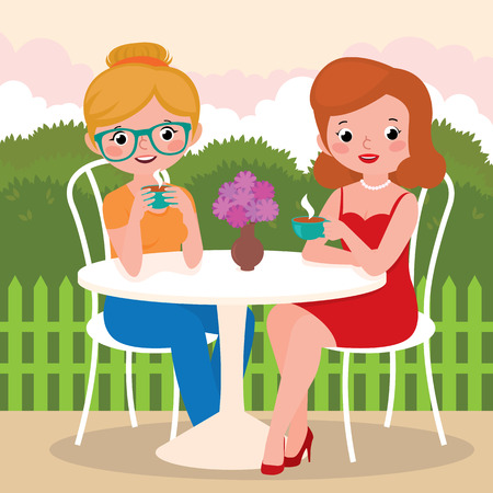 Stock Vector cartoon illustration of a tea party girl friends outdoors