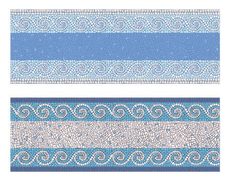 Stock vector illustration seamless mosaic border in antique style Vettoriali