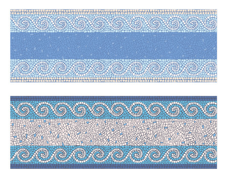 mosaic: Stock vector illustration seamless mosaic border in antique style Illustration