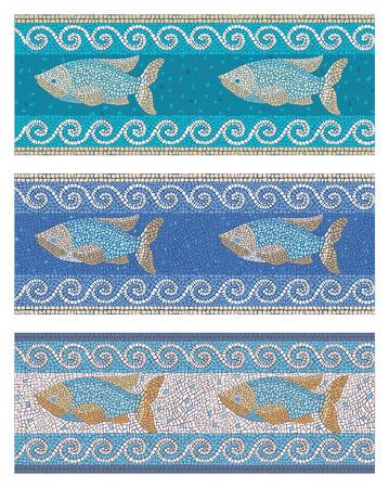 romana: Ilustración vectorial de fondo de mosaico sin fisuras en estilo antiguo en el tema marino