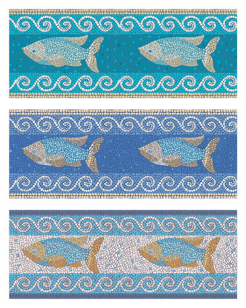 Stock vector illustration of seamless mosaic background in ancient style on the marine theme