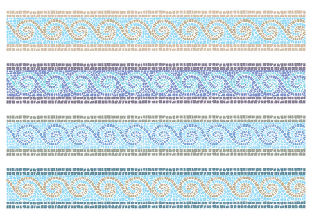 arte greca: Illustrazione vettoriali del mosaico d'epoca in frontiera senza soluzione di continuità di stile bizantino