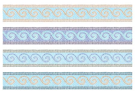 romana: Ilustración Foto vector de mosaico de la vendimia en la frontera sin costuras estilo bizantino Vectores