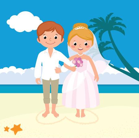 matrimonio feliz: Ilustración vectorial de la boda recién casada pareja en la playa